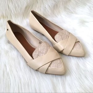 Ugg Alexa Leather Flats Embossed Beige Cream 5